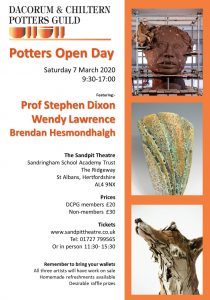 DCPG Annual Potters Open Day - Saturday 7th March 2020